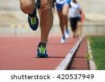 marathon runners.marathon with... | Shutterstock . vector #420537949
