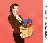 pop art fired woman.... | Shutterstock .eps vector #420541651