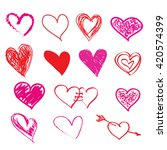 hand drawn  hearts for... | Shutterstock .eps vector #420574399