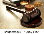 Gavel On Wooden Table  Close Up