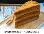 piece of thai tea cake on a...   Shutterstock . vector #420593011