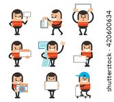 set of human character poses ... | Shutterstock .eps vector #420600634