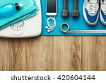 Stock photo training and sports equipment on a mat and weight scale healthy lifestyle and workout concept 420604144