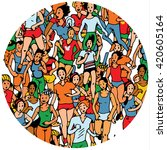 group of womem marathon runners.... | Shutterstock .eps vector #420605164