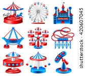 amusement park icons detailed... | Shutterstock .eps vector #420607045