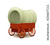 old wagon isolated on white... | Shutterstock .eps vector #420607111