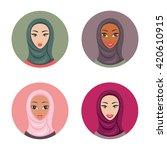 beautiful young muslim woman... | Shutterstock .eps vector #420610915