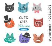 Cute Cats Set. Watercolor Cats...