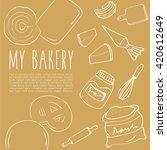 hand drawn bakery background  ... | Shutterstock .eps vector #420612649