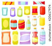 snacks packing set  packet  bag ... | Shutterstock .eps vector #420617974