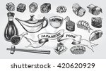 hand drawn set of japanese food.... | Shutterstock .eps vector #420620929