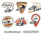 set of kart racing emblems ... | Shutterstock .eps vector #420625345