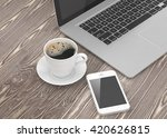 laptop smartphone and coffee... | Shutterstock . vector #420626815
