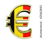 Gold Euro sign with Belgian flag isolated on white. Computer generated 3D photo rendering. - stock photo