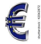 Silver Euro sign with european union flag isolated on white. Computer generated 3D photo rendering. - stock photo
