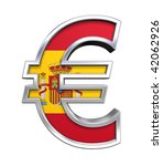 Silver Euro sign with Spain flag isolated on white. Computer generated 3D photo rendering. - stock photo