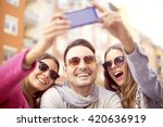 group of young people laughing... | Shutterstock . vector #420636919
