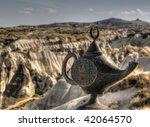 HDR image of Aladdins lamp - stock photo