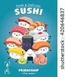 vintage sushi poster design... | Shutterstock .eps vector #420646837