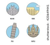 four isolated icons of italian... | Shutterstock .eps vector #420649441
