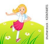 little girl running on the lawn   Shutterstock .eps vector #420656851