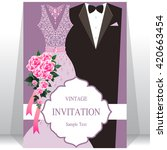 wedding invitation card  bride... | Shutterstock .eps vector #420663454