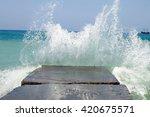 Stone Breakwater With Breaking...