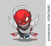 comic demon illustration   Shutterstock .eps vector #420676681