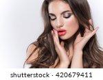 closeup portrait of sexy woman... | Shutterstock . vector #420679411