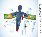 flying man with stack of money... | Shutterstock .eps vector #420680329