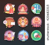 Set of religion icons. Religions and confessions illustration concepts. Flat modern style.
