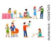 family nursing babysitting... | Shutterstock .eps vector #420687655