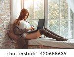 beautiful young woman sitting... | Shutterstock . vector #420688639