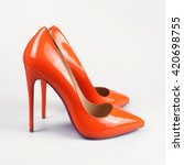 Orange High Heels Pump Shoes
