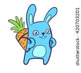 rabbit and carrot   Shutterstock .eps vector #420703201