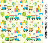toy trains seamless pattern | Shutterstock .eps vector #420705214