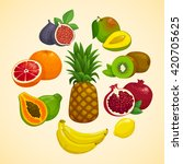 tropical fruits collection.... | Shutterstock .eps vector #420705625