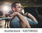 fit young man lifting barbells... | Shutterstock . vector #420708301