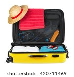 yellow open packed suitcase... | Shutterstock . vector #420711469