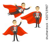 set of superhero businessman in ... | Shutterstock .eps vector #420715987