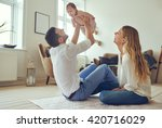 proud father holding his... | Shutterstock . vector #420716029