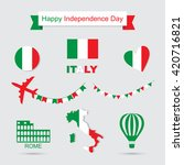italy flag  banner and icon... | Shutterstock .eps vector #420716821