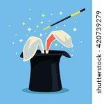 magic hat with rabbit. vector... | Shutterstock .eps vector #420739279