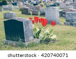 Headstones In A Cemetary With...