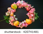 wreath flower and fruit on... | Shutterstock . vector #420741481