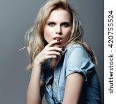 portrait of a beautiful blonde...   Shutterstock . vector #420755524