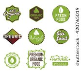 set of organic food labels  100 ... | Shutterstock .eps vector #420765019