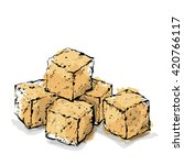 Hand Draw Of Brown Sugar Cubes. ...