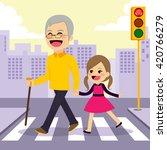 happy girl helps grandfather... | Shutterstock .eps vector #420766279