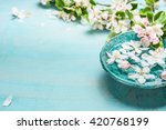 aroma bowl with water and white ... | Shutterstock . vector #420768199
